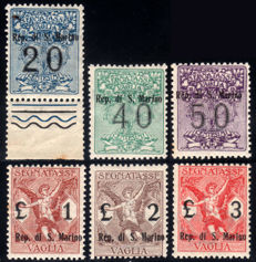San Marino 1924 - Postage due for postal order, complete series of 6 stamps - Sass.  N°  S901