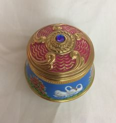 House of Faberge TFM, 24K gold gilded and enamel porcelain 18 note music box from the famous balletpiece Tchaikovsky Swanlake with crystal on top