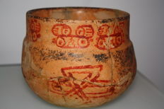 Vase with red decoration of ideograms of Mayan Calendar - 125 x 150 mm