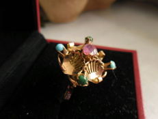 enchanting rose gold ring with ruby, turquoise, and jade