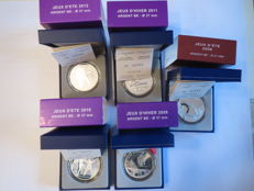 France - 10 Euro 2008/2012 'Olympic Sports' in cases (5 pieces) - silver