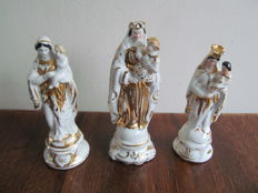 3 Vieux Bruxelles - Porcelain Virgin Mary figurines partly gold plated