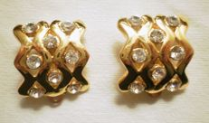 Yves Saint Laurent - Clip earrings in gold-plate with crystal rhinestones