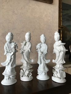 Four beautiful Chinese sculptures with traces of hallmark, in Blanc de Chine porcelain, depicting four Guanyin - China - second half 20th century