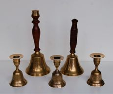 School bell (2 x) and candlestick bell (3 x)
