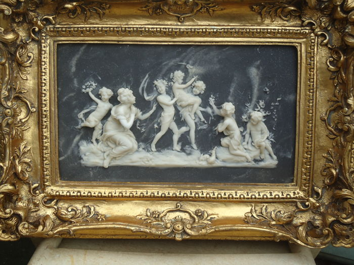 alabaster painting with putti angels children and goddess in golden