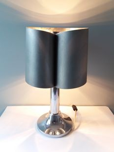 Unknown designer - Table lamp in the style of François Monnet, steel and chromed metal.