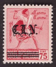 Italy 1945 - CLN (National Liberation Committees) Turin - 75 centesimi 'Destroyed Monuments' with the overprinted Gothic fonts for the 20 c. - Errani-Raybaudi N°  10