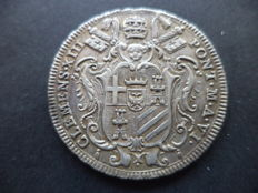 Papal States – Testone, 1763, year VI, Clement XIII – Silver