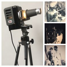 Leitz Prado 150 slide projector on a beautiful Pentacon tripod with many extras