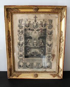 Communion souvenir dating from 1840 in a pretty frame under old glass