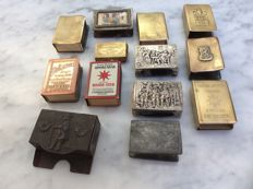 13 advertising match holders,  silver, brass, copper, metal, approx 1930.