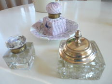 3 antique inkwells 2 crystal, 1 earthenware
