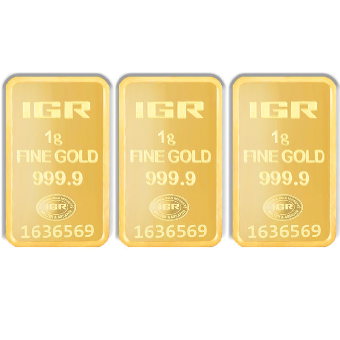 1+1+1g, 3 pieces of 1g sealed 24 Ct Fine Gold Bars, ***No Reserve Price ***