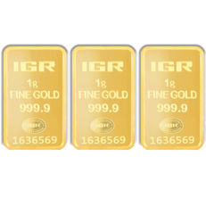 1+1+1g, 3 pieces of 1 gr. sealed 24 Ct Fine Gold Bars