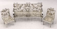 Handmade Dutch silver miniature bench with two armchairs - The Netherlands,  1st half of 20th century