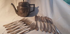 Jugendstil fish cutlery and tea pot. From East Frisia at the end of the 19th century