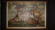 """Beautiful old history school poster with VOC ships by Isings with the title """"court martial before the four days battle 1666"""""""