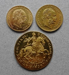 Austria - Lot of 3 coins 1892/1963 - gold