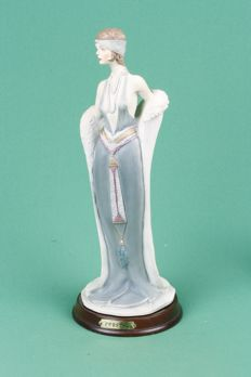 Intact porcelain (biscuit) sculpture 'CRYSTAL' (Art Deco style) sexy lady in evening dress and fir coat Approx, 33 cm in height
