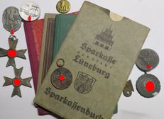Lot of badges, identity card, savings book WWII 1933-1945