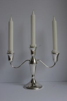 Silver three light candle stand, Duchin - United States - 20th century