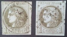 France 1870 - Bordeaux Issue, 1 c reports 1 and 2 - Yvert n° 39A and 39B