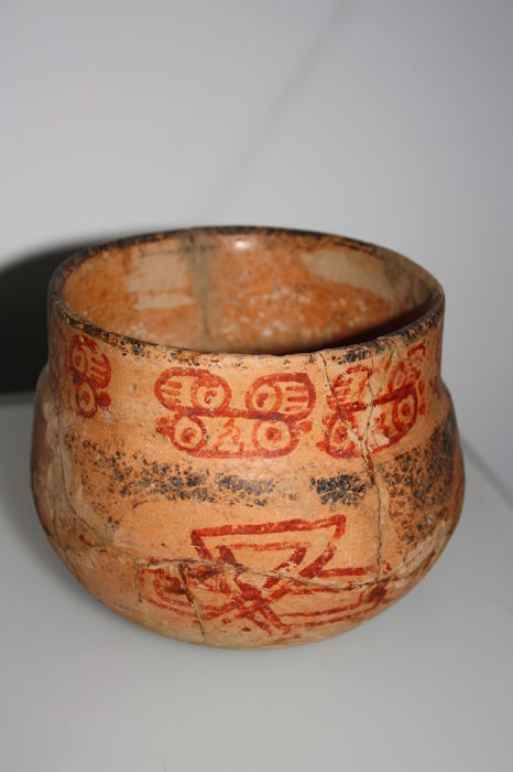 Vase With Red Decoration Of Ideograms Of Mayan Calendar 125 X 150