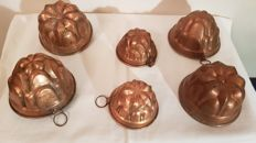 Lot of 6 beautiful moulds for pudding - Italy, second half of the 20th century