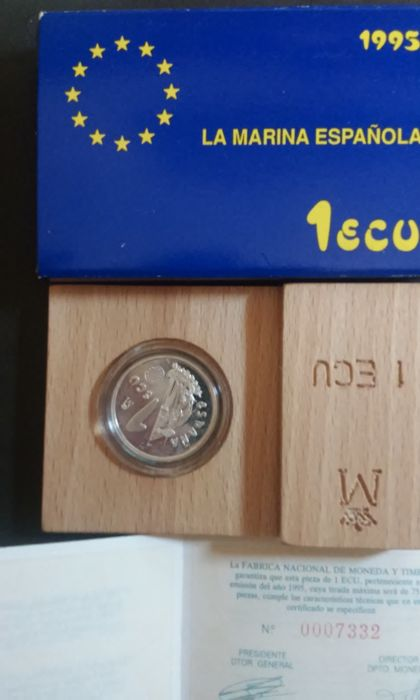 Spain - 7 silver coins of 1 ecu, 1995, La Marina (The Navy).