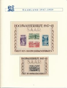 Saarland - 1947-1959 - complete collection with block 1 & 2, OPD Saarbrücken and official stamps in Borek album (2)