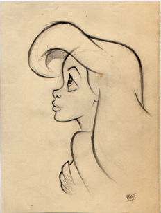 Mateu, Xavier Vives - Original preliminary sketch - The Little Mermaid - Ariel has hope (1990s)