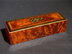 Glove box in elm veneering, ebony and brass - France - 19th century