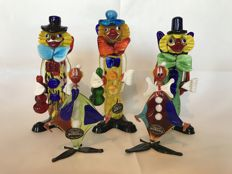 Collection of Five Clowns in beautiful colours of Murano glass - Late 20th century, Made in Italy (5)