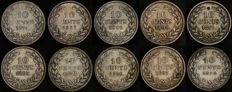 The Netherlands - 10 cents 1874/1898 (10 different) Willem III and Wilhelmina - silver