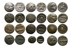 Greek antiquity – Alexander the Great – Alexander III (336-323 B. C.)- Lot comprising 12 Drachms and AEs coins (12x)