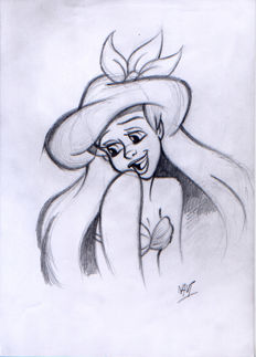 Mateu, Xavier Vives - Original preliminary sketch - The Little Mermaid - Ariel smiles (1990s)