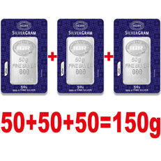 3x50g  999 Fine  3 Silver  Bullion Bars , *** Low reserve Price ***