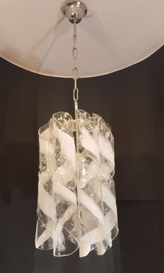 Unknown designer - Pendant light with spiral Murano glass elements