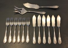 Fish cutlery in silver metal Sfam Rocaille style - 14 Pieces