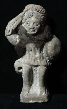 A Stunning Piece:Terracotta Figure of Beset with Ancient Hair around neck!!!!