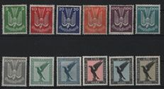 German Empire/Reich – 1924  – 1926 – wooden dove 5 Pfg. Up to 3 Mark and the stone eagle 1 M to 3 M, Michel 344-350 & 332-334