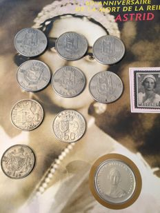 Belgium - 20, 50, 100 and 250 Franc - 10 pieces - silver