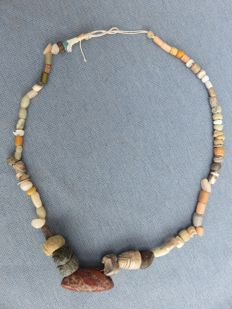 Archaeological beaded necklace with stone and glass beads - 38 cm