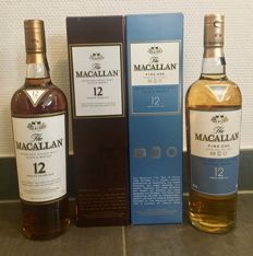 2 bottles - The Macallan 12 years Sherry Oak + Macallan 12 years Fine oak