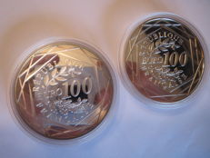 France - 100 Euro 2014 and 2015 in cases (2 pieces) - silver