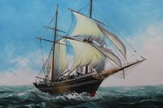 Nydam - ship on the high seas - painting