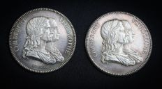France - Lot of 2 tokens 'Lyon City Hospitals, Administrative Council' (1860-1880) - Silver