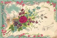 Fantasy cards with silk, fabric - 57 x - Including Flowers and traditional costumes - 1900/1940