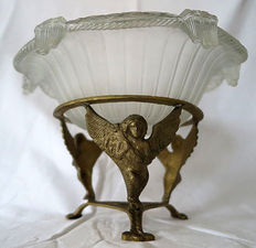 Pressed Glass Art Deco style bowl with metal holder, France, 2nd half 20th century
